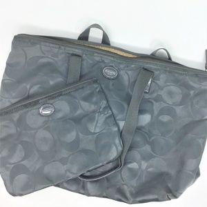 Coach Nylon Tote Bag + Small Case Gray Signature